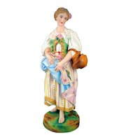 JEAN GILLES Antique French Porcelain Statue Hand Painted Woman With Jug