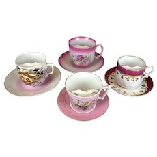 Antique Victorian Mustache Cups and Saucers Pink and Rose Colors Lot of 4 Sets inc. Bawo & Dotter, Old Paris Porcelain