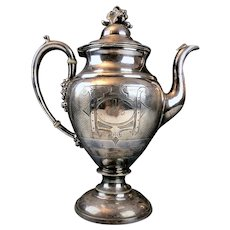 Antique Silverplate Coffee Pot Mid-19th Century | Engraved Monogram ASB | Grape Cluster Finial