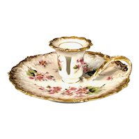 Antique Limoges Porcelain Handpainted Chamberstick Candleholder | Pink Blossoms and Gold Gilding