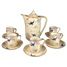 NIPPON Hand Painted Chocolate Set Swallows and Pink Roses Decoration