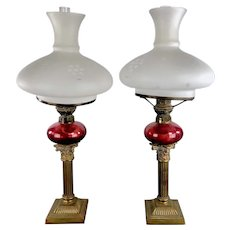 Antique PAIR of F. T. Sale Oil Peg Lamps with Safety Burner Cranberry Glass Candlesticks