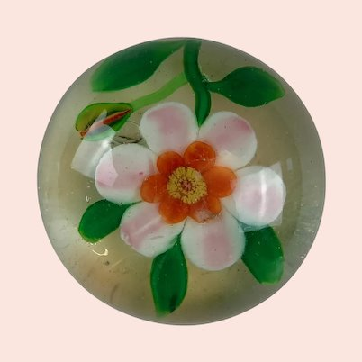 Antique Paperweight Lampwork Flower with Bud and Leaves
