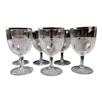 Antique EAPG Beaded GRAPE MEDALLION Goblets - Boston Silver Glass Co. - Set of 6 ca. 1870
