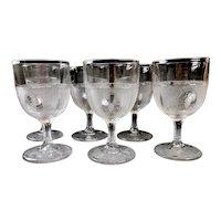 Antique EAPG Beaded GRAPE MEDALLION Goblets - Boston Silver Glass Co. - Set of 6 ca. 1870