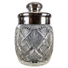 Antique CUT GLASS Humidor or Tobacco Covered Jar Silverplate Top European Glass