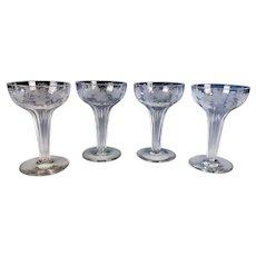 Antique Engraved Hollow Stem Champagne Glasses Grape & Vine Pattern European Origin 4 PIECES