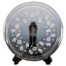 Gorgeous Antique Later Georgian Engraved Glass Platter Water Lily w Lilypads Decoration