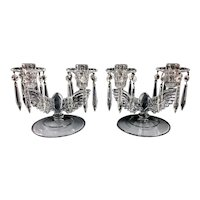 Vintage NEW MARTINSVILLE Crystal Eagles Pair of Double Candlesticks w Prism Drops
