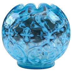 Antique NORTHWOOD Spanish Lace Blue Rose Bowl