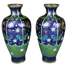 Antique Japanese Meiji Period Cloissone Vases Featuring Butterflies and Flowers Enameling