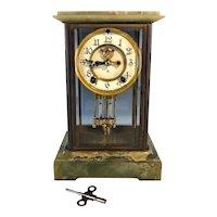 Antique ANSONIA GREEN ONYX Mantle Clock Original Pendulum and Key