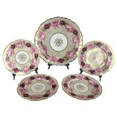 Antique LIMOGES ROSES Large Platter and 4 Side Plates | D&C France & Bernardaud and Co Stamps