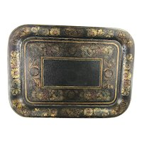Antique TOLE STENCILED Large Tray w Old Craquelure Circa 1860