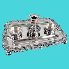 Antique Silverplate Ink Stand Desk Inkwell Holder Silverplate Over Copper