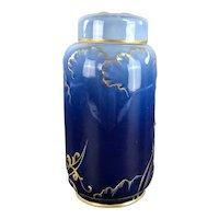 Antique WM GUERIN LIMOGES Gorgeous Cobalt Gilt Tea Caddy