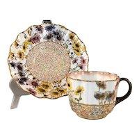 Antique DOULTON BURSLEM Antique Aesthetic Period Cup & Saucer Multicolor Daisies