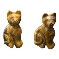 Two Beautifully Carved Tiger Eye Kittens