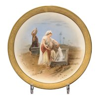 French Porcelain Display Plate, Two Women At a Well