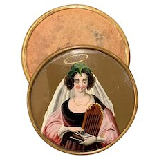 Continental Gilt Metal Mounted Portrait Patch Box with Image of St. Cecelia