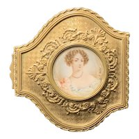 French Gilt-Bronze Vanity Box with Inset Miniature of the Duchess of Fontanges