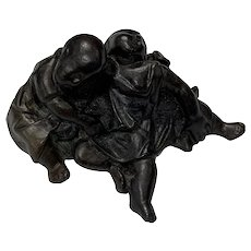Diminutive Bronze of Wrestling Chinese Children