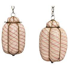 Two Mid-Century Murano Seguso Latticino Hanging Caged Lamps