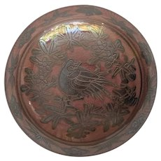 Japanese Silver Overlay Rouge Pot