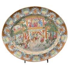 Chinese Export Porcelain Rose Mandarin Platter Ca. 1825