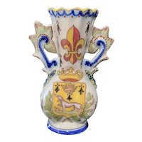 Fourmaintraux Freres French Faience Miniature Flower Vase