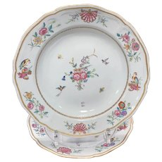 Two Chinese Export Famille Rose Soup Plates Ca. 1770