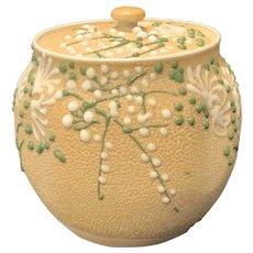 Meiji 19th C Japanese Sharkskin Glazed Banko Ware Lidded Jar with Relief Decoration