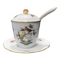 Herend Rothschild Bird Covered Jam Jar with Ladle