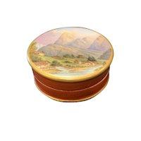 19th C Favre et Cie Hand Painted Porcelain Pill Box