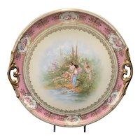 Austrian Hand Painted Porcelain 2-Handled Circular Tray