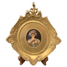 """Hutschenreuther """"Girl with a Candle"""" Plaque Signed """"Wagner"""" in Gilt Wood Frame"""