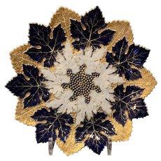 Meissen Cobalt Blue and Gold Maple Leaf Cabinet Plate