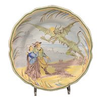 "Porquier-Beaux ""Le Diable Trompe"" Legends Plate, 19th C"