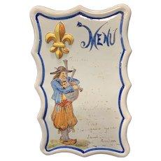 19th C Porquier Beau Menu with Piping Breton