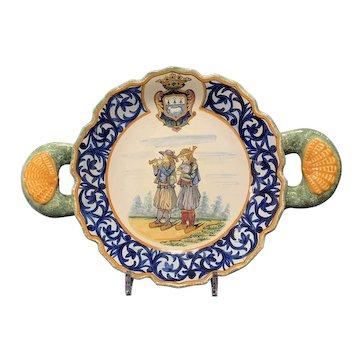 Henriot Quimper Shell Handle Bowl