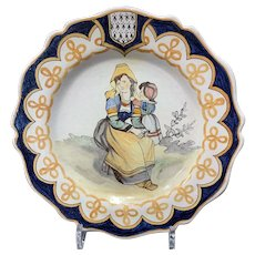 Malicorne Late 19th C Faience Cabinet Plate with Mother and Daughter