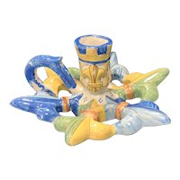 French Faience HR Quimper Fleur de Lis Chamber Stick / Candle Holder, 19th C