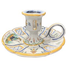 French Faience Chamberstick / Candle Holder Ca. 1890's