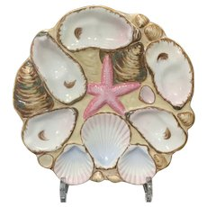 Majolica Starfish Oyster Plate, Wilhelm & Graef, late 19th C