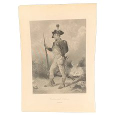 19th C Copper Plate Engraving of a Continental Soldier by John C. McRae