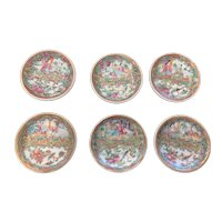 Chinese Export Rose Medallion Butter Pats, Set of 6, Late 19th C