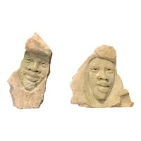 Contemporary African Stone Head Sculptures of a Man and a Woman