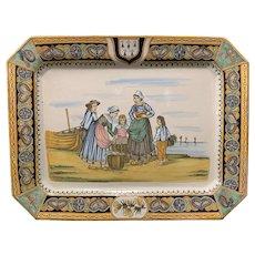 HenRiot Quimper Octagonal Platter, early 20th C