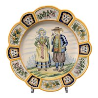 Early 20th C French Faience HenRiot Quimper Display Plate
