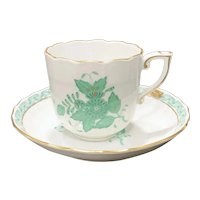 Herend Green Chinese Bouquet Chocolate Cup & Saucer